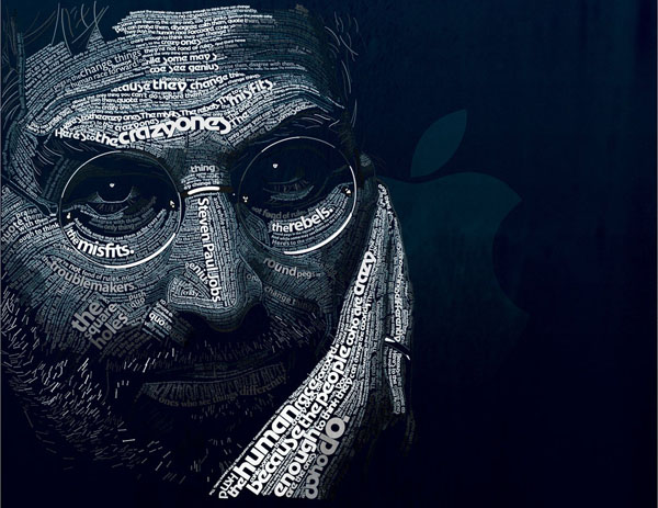 Steven Paul Jobs typo portrait