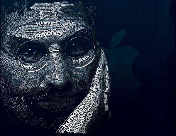 Steven Paul Jobs typo portrait