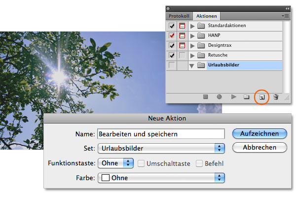 3. Schritt Photoshop Aktion anlegen