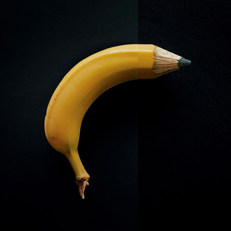 combophoto banana + pencil