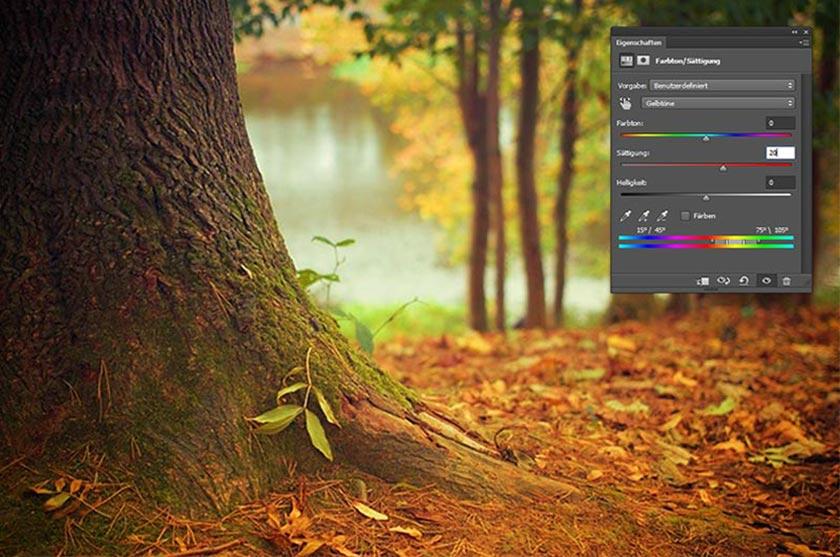 herbstfotos in photoshop optimieren sättigung einstellen