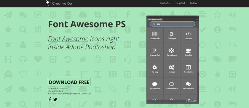 Font Awesome Photoshop Plugin