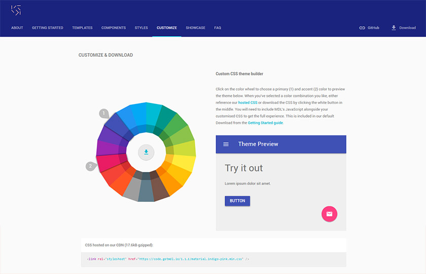 material design light css builder