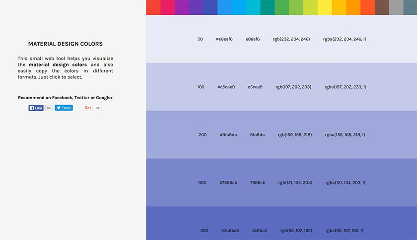 Material Design colors overview