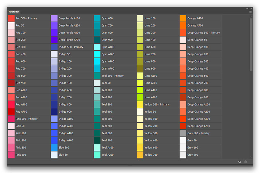 material design farbpalette in photoshop