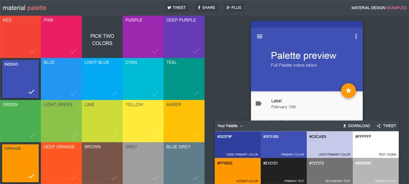 Material Design Farben Palette