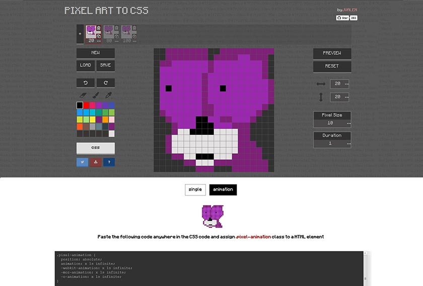 pixel art to css
